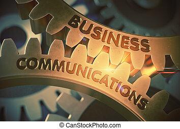 doré, illustration., communications affaires, gears., 3d
