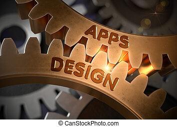 doré, illustration., concept., apps, conception, cogwheels., 3d