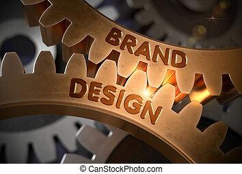 doré, illustration., concept., conception, cogwheels., marque, 3d
