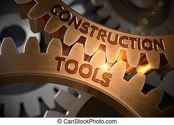 doré, illustration., concept., construction, gears., outils, 3d