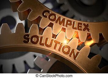 doré, illustration., concept., solution, complexe, cogwheels., 3d