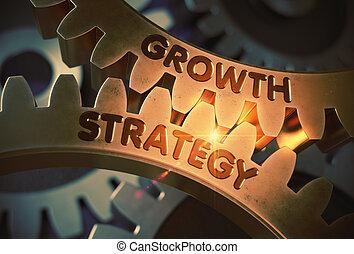 doré, illustration., concept., stratégie, croissance, engrenages, 3d