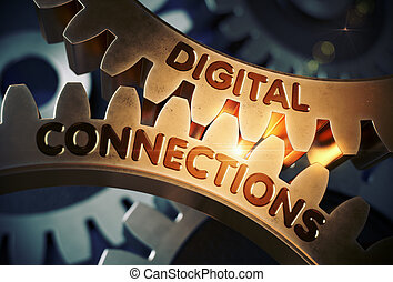 doré, illustration., connexions, dent, numérique, gears., 3d