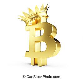 doré, illustration, couronne, bitcoin, rendre, fond, blanc, 3d