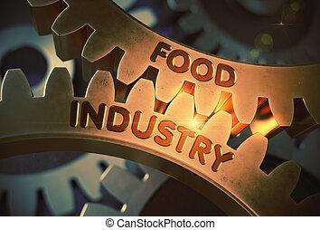 doré, illustration., industrie alimentaire, engrenages, concept., 3d
