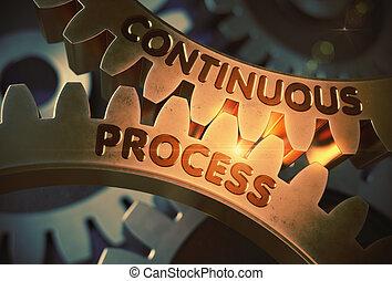 doré, illustration., processus, continu, dent, gears., 3d