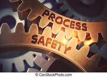 doré, illustration., processus, sécurité, cogwheels., 3d