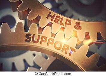doré, illustration., soutien, aide, gears., 3d