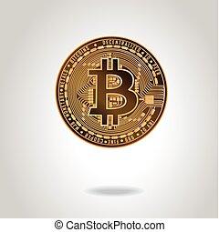 doré, illustration., symbole., bitcoin, réaliste, vecteur, monnaie, stockage