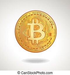 doré, illustration., symbole., bitcoin, vecteur, monnaie, stockage