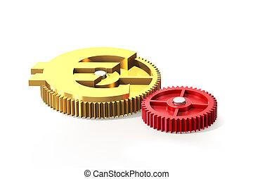 doré, illustration., symbole, engrenage, euro, 3d