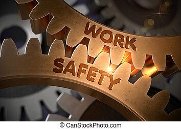 doré, illustration., travail, métallique, sécurité, cogwheels., 3d