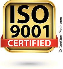 doré, illustration, vecteur, iso, 9001, étiquette, certifié
