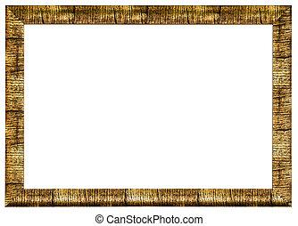 doré, image, cadre bois, photo
