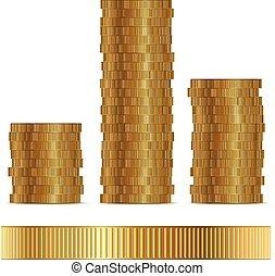 doré, isolé, arrière-plan., vecteur, gabarit, blanc, monnaie, côté