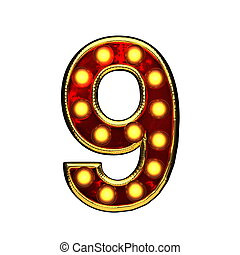 doré, isolé, illustration, lumières, white., lettre, 9, 3d