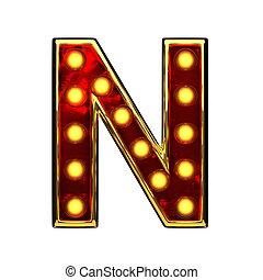 doré, isolé, illustration, n, lumières, white., lettre, 3d