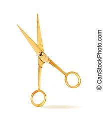 doré, isolé, object., vecteur, conception, fond, scissors., blanc, element., icône