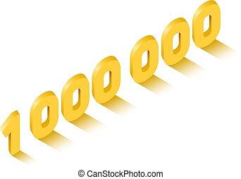 doré, isométrique, concept, million, signe, style, une, célébration