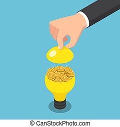 doré, isométrique, lumière, intérieur, main, homme affaires, ampoule, monnaie, ouvert