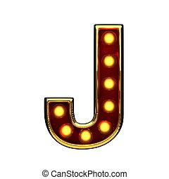 doré, j, isolé, illustration, lumières, white., lettre, 3d