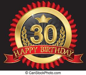 doré, labe, 30, années, anniversaire, heureux