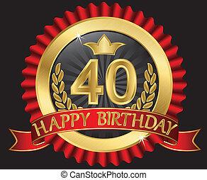 doré, labe, 40, années, anniversaire, heureux