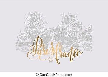 doré, lettrage, louvre, paris, france, main, dessin