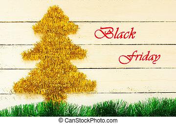 doré, lettres, clinquant, formulaire, inscription, bois, arbres, vendredi, décoration, vert, noir, blanc, herbe, noël, rouges, conseils