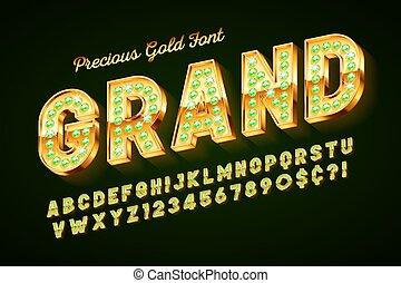 doré, lettres, gemmes, or, nombres, police, 3d