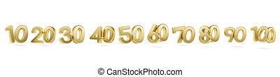doré, lettres, gras, dix, une, 3d-illustration, cent