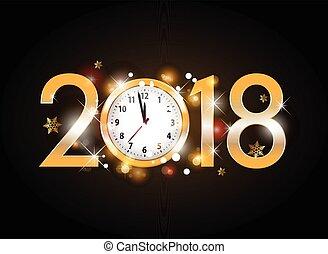 doré, lettres, horloge, noir, 2018, fond, année, nouveau