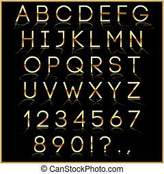 doré, lettres, reflet, alphabet, vecteur, arrière-plan noir