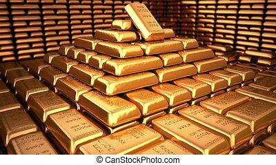 doré, lingots, dans, chambre forte banque, ou, sûr