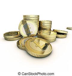 doré, litecoin, monnaie