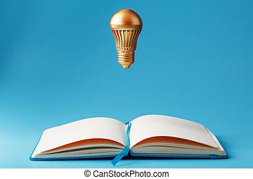 doré, lumière, cahier, concept, arrière-plan., ouvert, lévitation, idea., ampoule, bleu