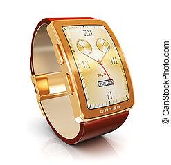 doré, luxe, montre, intelligent
