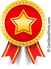 doré, médaille, étoile