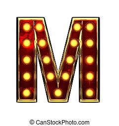 doré, m, isolé, illustration, lumières, white., lettre, 3d
