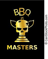 doré, maîtres, barbecue, barbecue, icône