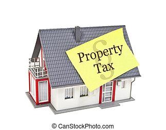 doré, maison, impôt, signe, marteau, modèle, propriété