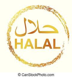 doré, manger, gens, boisson, signe, timbre, crayon, permis, cercle, frontière, halal, simple, islam