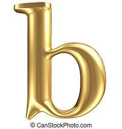doré, mat, bijoux, b, minuscule, collection, lettre, police