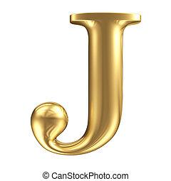 doré, mat, bijoux, collection, j, lettre, police