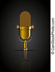 doré, microphone, fond