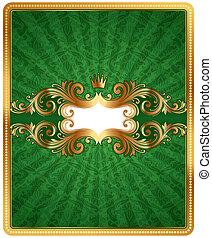 doré, modèle, cadre, vecteur, arrière-plan vert