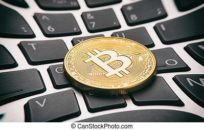doré, monnaie, bitcoin, clavier