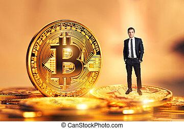 doré, monnaie, bitcoin, homme