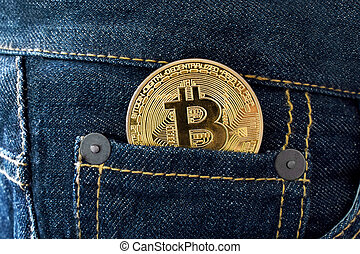 doré, monnaie, bitcoin