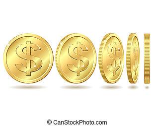 doré, monnaie, signe dollar